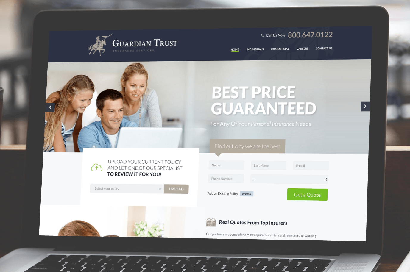 Guardian Trust Insurance Services Website