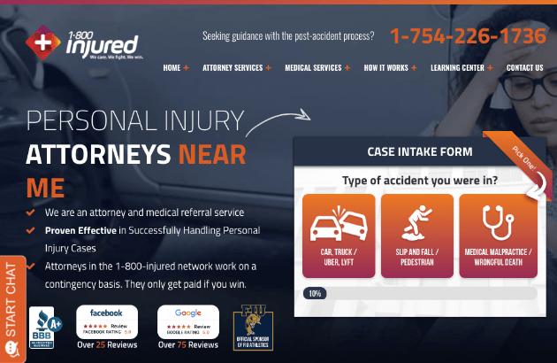 1800 Injured Web Design