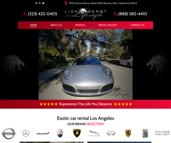 Lion Heart Lifestyle: Exotic Car Rental Los Angeles Website