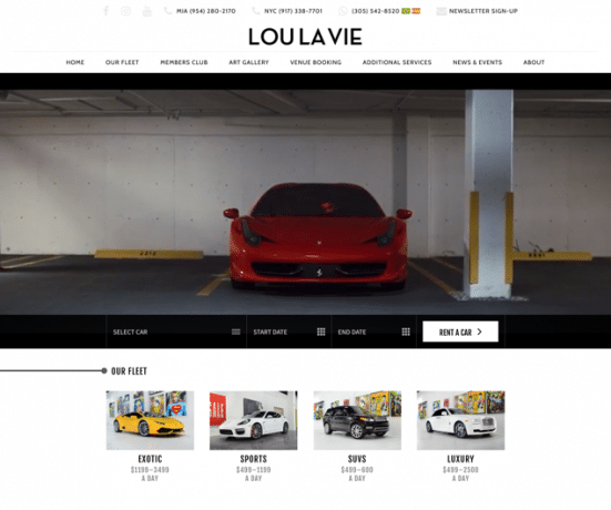 Lou La Vie: Exotic & Luxury Car Rental Miami Web Design