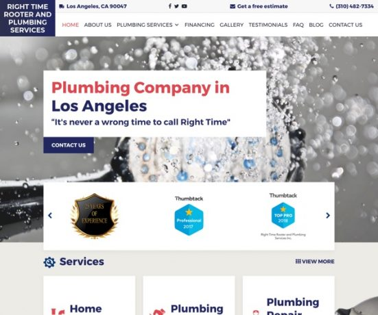 Right Time Rooter And Plumbing Service Web Design