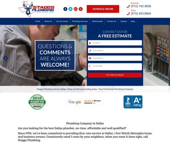 Staggs Plumbing Dallas Web Design