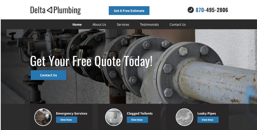 Example of a plumbing website design