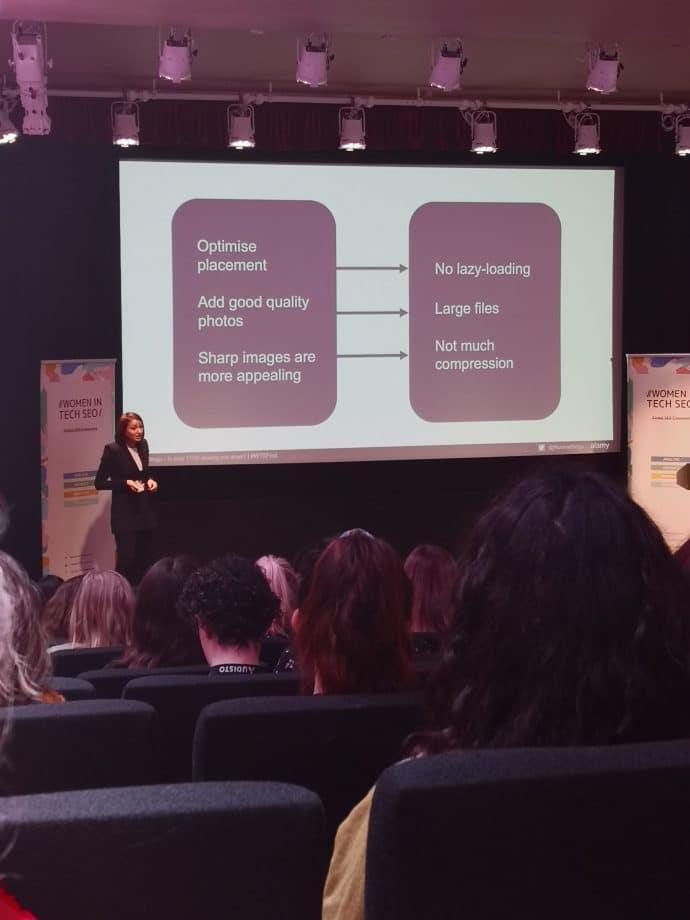 presentation on screen from Roxana Stingu, women in tech