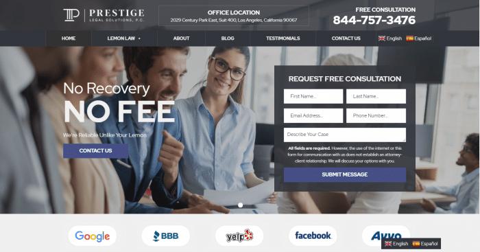 Prestige Legal Solutions Website