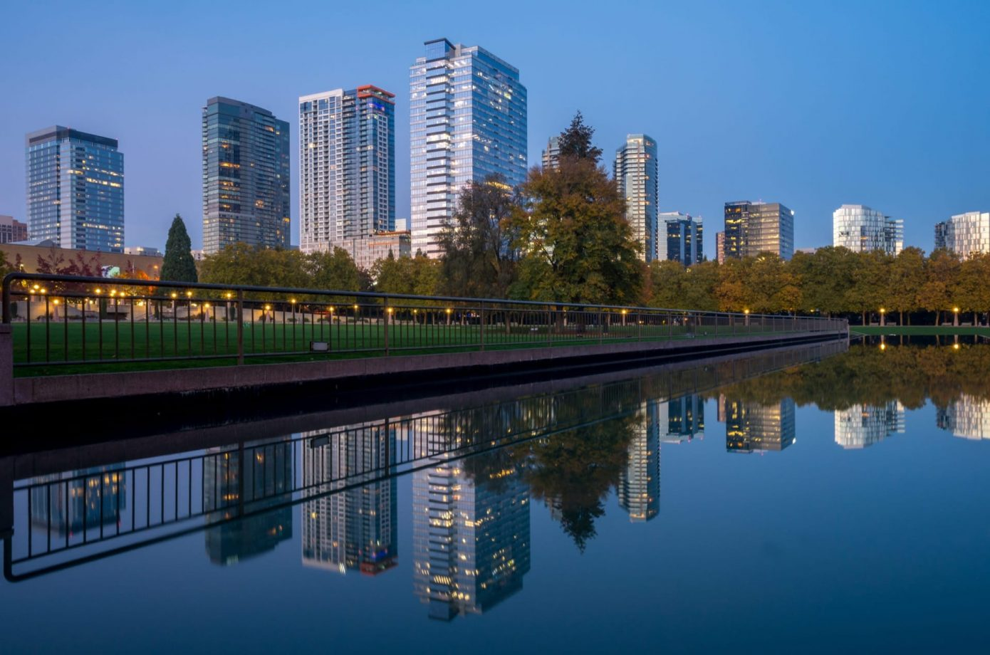 Bellevue Downtown Park at Twilight, Washington-USA