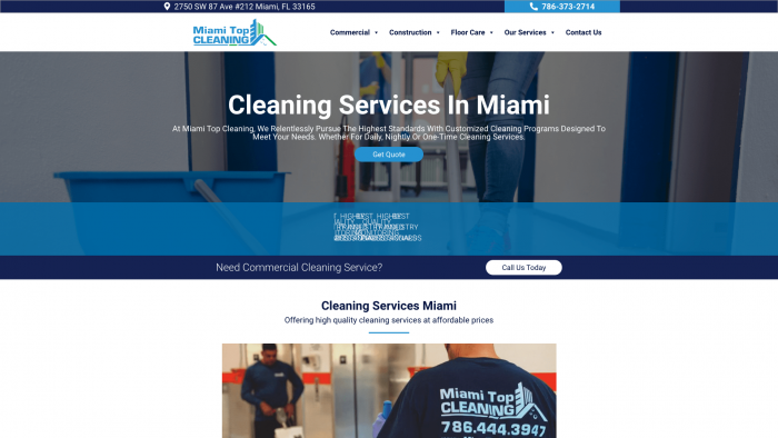 Miami Top Cleaning-Cleaning Company Web Design